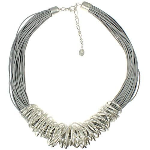 Aufregender Halsschmuck, klobig, silberfarben. Drahtspirale über ein graues Lederband, Modeschmuck, Halskette