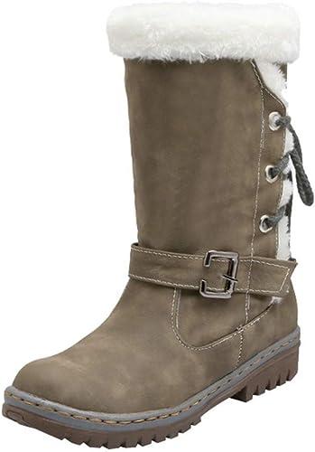 ZHRUI botas zapatos de mujer zapatos Casuales Clásicos botas de Nieve para mujer Moda Tacones Planos zapatos de Invierno botas de Piel cálida botas para mujer botas Botines Elegantes