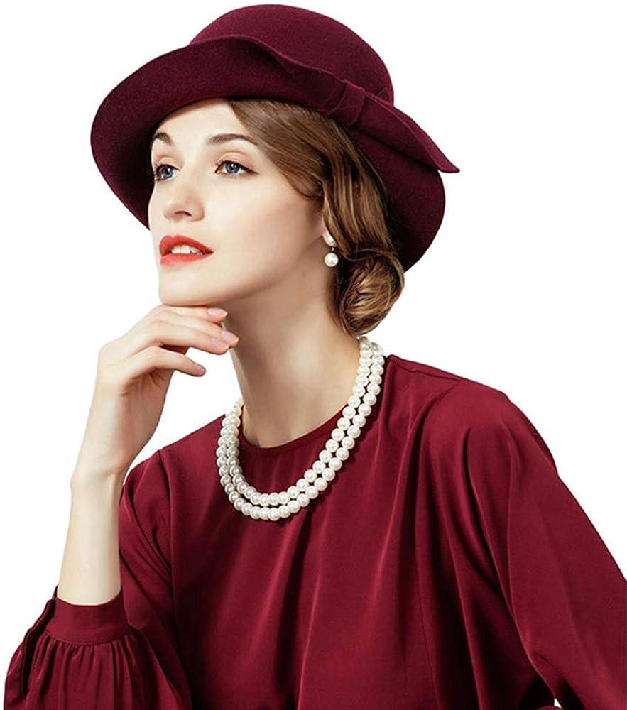 British Fascinators Ladies Wool Hat Flat Top Fedora Hat Bowler Caps with Bowknot
