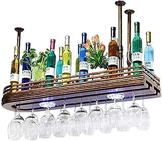 DJSMjbj Fer forgé Verre à vin Rack Cuisine Organisation Hanging Stockage Support métallique Wine Rack Goblet Rack Rouge Ta...