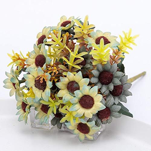 SSTony Plastikowe sztuczne kwiaty jesień małe rzemiosło kwiat jedwab sztuczne kwiaty do dekoracji domu ślub balkon aranżacja zaopatrzenie, zielony