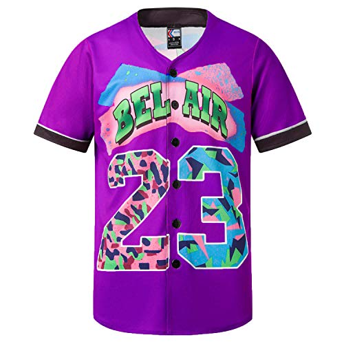 MOLPE Bel-Air 23 Printed Baseball Jersey, 90S Hip-Hop Clothing for Party (Purple, S)