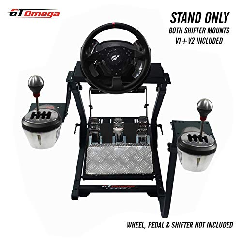 GT Omega Steering Wheel Stand PRO for Thrustmaster T500 RS Force Feedback Gaming Wheel & TH8A Shifter Mount V1 - Fanatec Clubsport PS4 Xbox PC - Tilt-Adjustable to Ultimate Sim Racing Experience