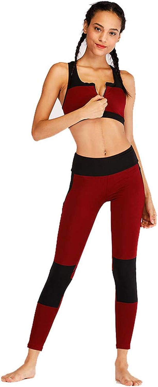 Women's Sports Suit Yoga Fitness Suit with Zipper Sports Suit Female Autumn Winter color Mosaic Fitness Yoga Running Sportswear (color   Wine red, Size   S)