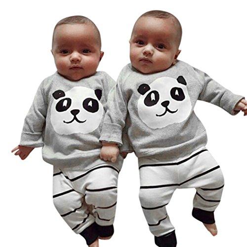 Bébé Ensemble de Vêtements,LMMVP Nouveau-né Filles Garçons Panda Tops Shirt Pantalons à Rayures Ensemble d'équipement 2PCS Vêtements 0-24 mois (80(6-12M), Gris)
