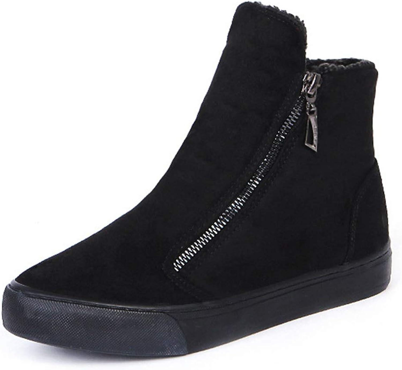 T-JULY Women's Snow Boot Winter Flock Zipper Platform Flat Plush Casual Footwear Ladies Short Ankle shoes
