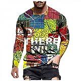 Camiseta de manga larga para hombre, para otoño e invierno, informal, a la moda, cuello redondo estampado, camiseta de manga larga, F_Mehrfarbig, XXL