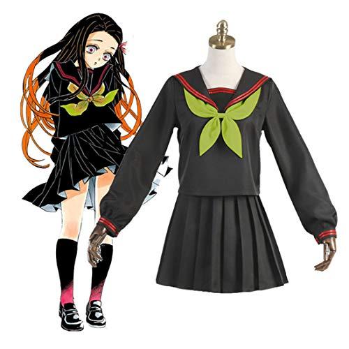 ColiCor Conjunto de disfraz de cosplay, Kimetsu No Yaiba Kamado Nezuko, traje de marinero JK traje de uniforme, disfraz de cosplay, conjunto completo para adultos y nios - XL