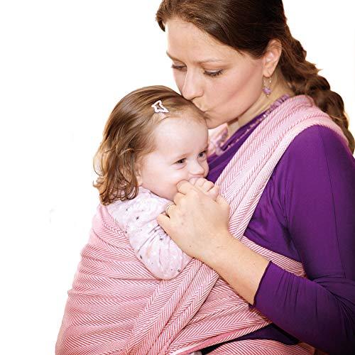 DIDYMOS Woven Wrap Baby Carrier Lisca/Herringbone Raspberry (Organic Cotton), Size 5