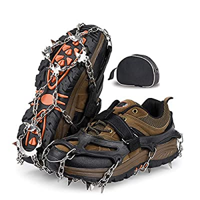 Qerhod Traction Cleats,18 Tooth Stainless Steel Ice Snow Grips Anti Slip Crampons,Suitable for Winter Jogging,Hiking, Climbing,Other Outdoor Events-Includes Carry Bag (Black/M)