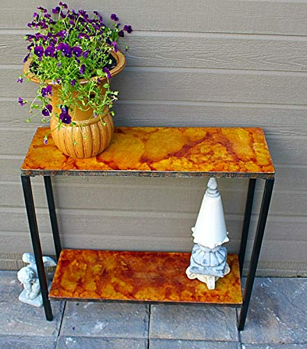 Pebble Lane Living 2 Tier Stained Concrete Outdoor Patio Console Buffet Sofa Table