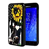 Galaxy J7 2018/J7 V 2018/J7 Refine/J7 Star Case, Slim Anti-Scratch Shockproof Rubber Protective Cover for Samsung Galaxy J7 (2018),American Flag Sunflower and Cow