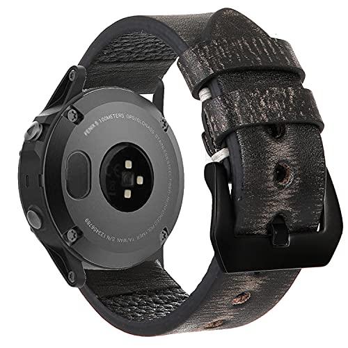 Estuyoya - Pulsera de Piel Hecha a Mano compatible con Garmin Fenix 6X / Fenix 6X Pro / Fenix 5X / Fenix 5X Plus / Fenix 3 / Fenix 3 HR Diseño Único y Exclusivo Cuero Auténtico 26mm - GreySpace