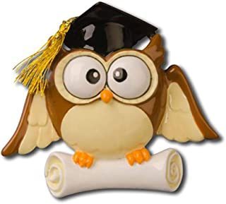 Personalized Graduate Owl Christmas Tree Ornament 2019 - Diploma Hat Real Tassel Book College Under-Graduation PhD Masters Degree High End School New Girl Boy Law Wisdom Gift - Free Customization