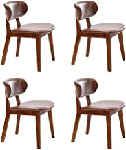 Cafe Lounge Chairs Solid Wood Padded Seat Simple Dinin Chair for Household. (Color : Brown, Size : Set of 4)