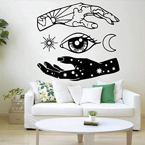 HGFDHG Pegatinas de Pared abstractas Luna Sol Ojos Estrellas Vinilo Pegatinas de Pared Decoración del hogar Sala de Estar Dormitorio Armario