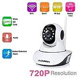 【 FLOUREON Wireless IP Camera 】- Pan: 355 ° / Tilt: 120 °. Supporta Micro SD Card fino a 64GB (non incluso) ; Supporto 2 way Audio, Microfono incorporato e altoparlanti 【 720P Telecamera di sicurezza 】- 1.0MP CMOS, 3.6mm Lenti, Risoluzione 1280 x 720...