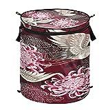 Hunihuni - Cesta de lavandería japonesa con diseño de grúa de flores plegable para ropa sucia, cesta de almacenamiento con cremallera para baño, dormitorio, lavandería