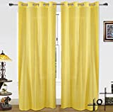 Dekor World Cotton Gold Stripe Yellow Curtain Set (Pack of 2)-110X275Cm (4X9Feet) Long Door Curtain-for Bedroom and Living Room
