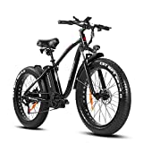 SAMEBIKE 750W 26 inch Fat Tire Electric Bike for Adults 48V 14.5AH Battery Electric Mountain Bike, LCD Display with USB Urban E-bike with Front Suspension, 7-Speed Gears