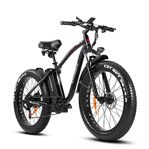 SAMEBIKE 750W Electric Bikes 4.0 Fat Tire EBike with 48V/15AH Lithium Battery, 26 Inch Electric Mountain Bike with Suspension Fork, Shimano 7-Speed Adult Electric Bicycles