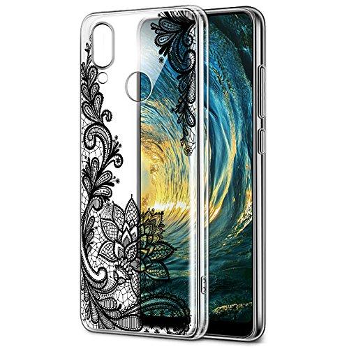 Funda Huawei P20 Lite, Eouine Cárcasa Silicona 3D Transparente con Dibujos Diseño Suave Gel TPU [Antigolpes] de Protector Case Fundas para Movil Huawei P20Lite 2018-5.84 Puldagas (Flor Negro)