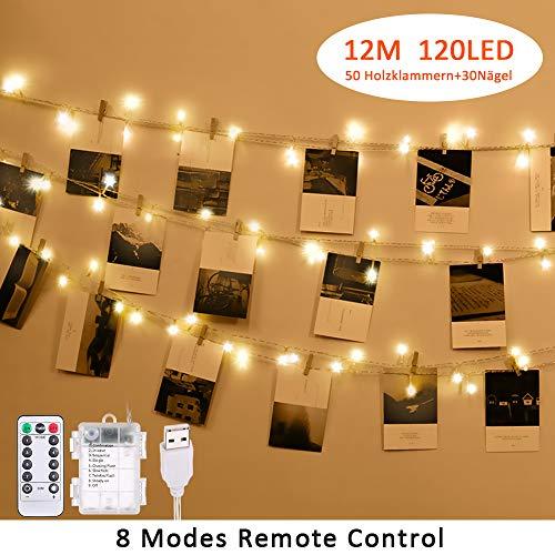 LED Foto Clips Lichterkette für Zimmer, Tomshine 12M 120LED Fotoclips Lichterketten USB/Batteriebetrieben mit 8 Modi und Fernbedienung für für Wohnzimmer innen Haus Hochzeit Schlafzimmer
