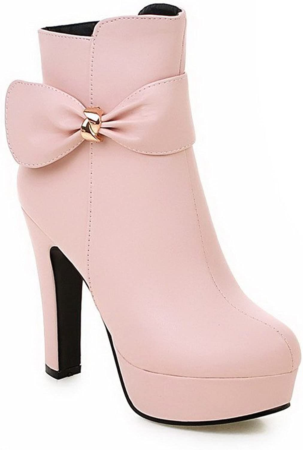 AllhqFashion Women's Round Closed Toe Solid Low Top High Heels Boots with Bows