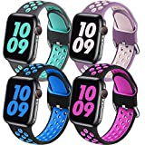 Easuny Sport Band Compatible with Apple Watch Bands 40mm 38mm Women Men - Soft & Durable Silicone Replacement Strap Breathable Wristband with Air Holes for iWatch SE Series 6 5 4 3 2 1, S/M 4 Pack