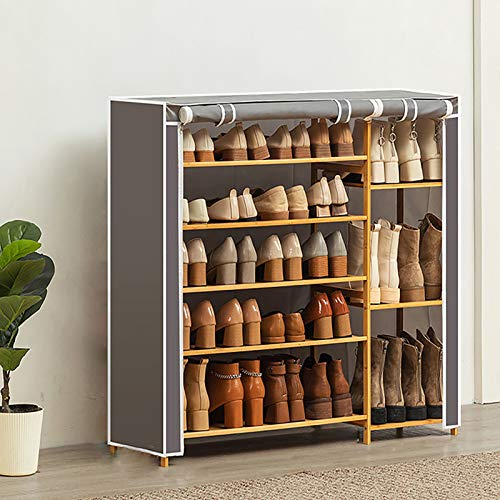 KWOPA 5-Nivel Rack De Zapatos De Bambú,Capacidad Extra Grande Polvo Estante De Almacenamiento De Rack De Zapatos,Organizador De Almacenamiento De Zapatos con Cubierta De Tela Oxford-Gris. 100x28x90cm