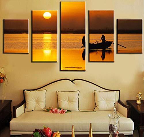Libjia Decoración Carteles Marco Sala De Estar Arte De La Pared Imágenes 5 Panel Mar Bote Pequeño Puesta De Sol Paisaje Casa Moderna Hd Impreso Pintura