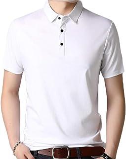 desolateness Men's Solid Short Sleeves Basic Lapel Cotton Top Tee Polo Shirt