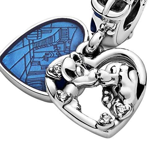 Charm dijes abalorios compatible con la dama y el vagabundo plata 925 compatible con Disney y pulsera europea o colgante ideal para regalo mujer o niña e incluso hombre