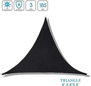 Lehood Triangle Sun Shade 8' x 8'x 8'- Patio Fabric shelter for Outdoor Activities - Durable Shade Sail