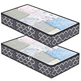 Large Underbed Storage Bags Organizer Containers- 2 Pack, Foldable Comforters Clothes Blankets Storage Bags with Clear Plastic Lids, 2 Zippers and 4 Handles (Grey with Lantern Pattern)