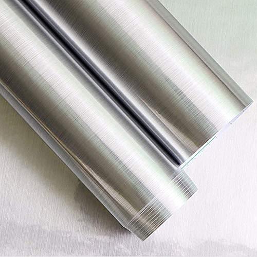 "Silver Self Adhesive Contact Paper 17.7""X 118"" Metallic Silver Contact Paper Metal Look Wallpaper Self Adhesive Peel and Stick Wallpaper Waterproof Contact Paper DIY Decor Shelf Liner Covering Film"