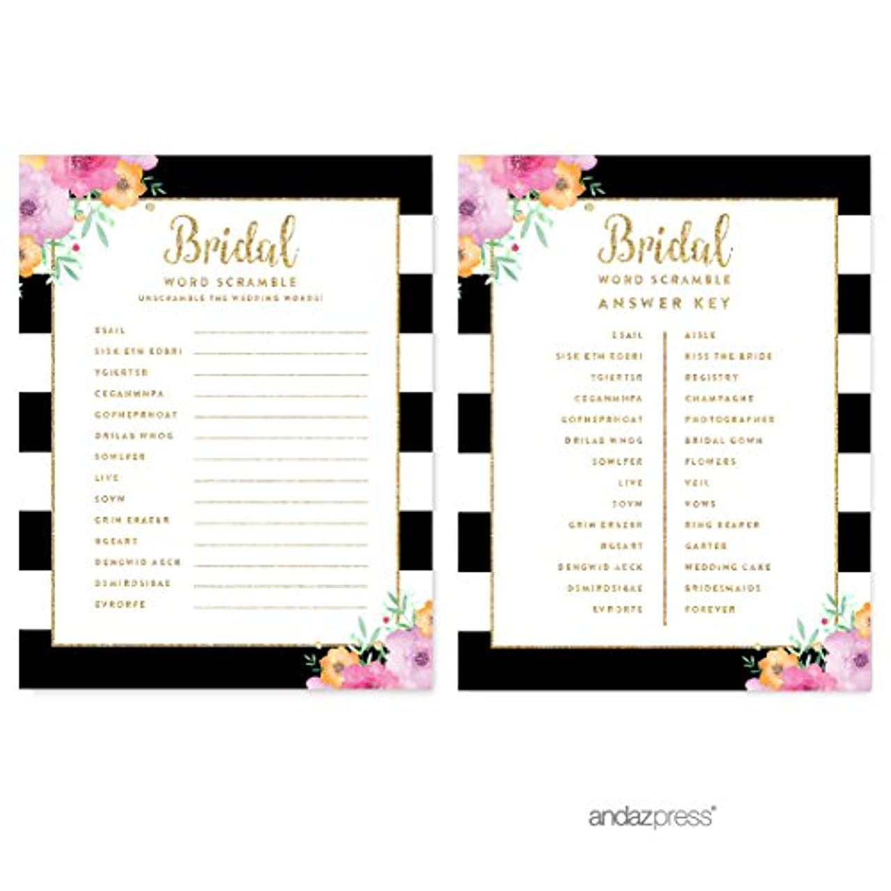 Andaz Press Floral Gold Glitter Print Wedding Collection, Wedding Word Scramble Bridal Shower Game Cards, 20-Pack