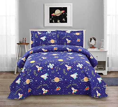 3 Pcs Kids Galaxy Quilt Summer Bedspreads Twin Size Space Coverlet Set,Cartoon Spaceship Plane Numbers Planet Bed Cover Lightweight Kids Universe Blanket Galaxy Bedding for Teens Boys-Blue Purple
