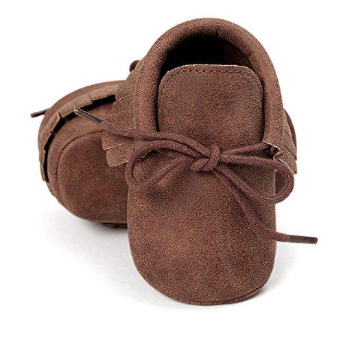 RVROVIC Baby Boys Girls Moccasins Soft Sole Tassels Prewalker Anti-Slip Shoes (S:0~6 Months, PU Dark Brown)