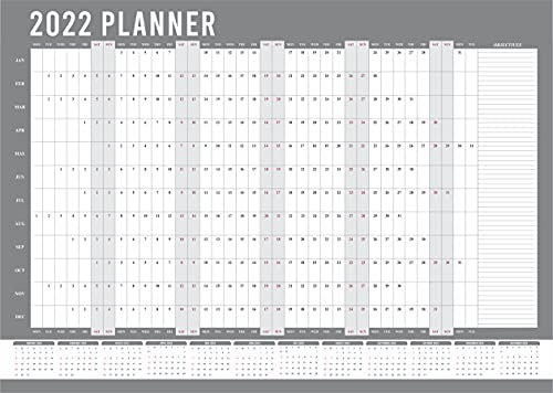 2022 Wall Planner A3 Size (29.7 X 42 Cm) Year Calendar Organiser Runs Jan To Dec Student Academic School Study Office Work Home Family Yearly Planning Annual Poster Chart |Folded| Grey Colour