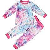 Yiyu Conjunto del Niño del Bebé Trajes De Tie-Dye Estar En Casa Los Pantalones del Pijama Fijado For 2-7Y Chicas 2pcs x (Color : Multi-Colored, Size : 100)