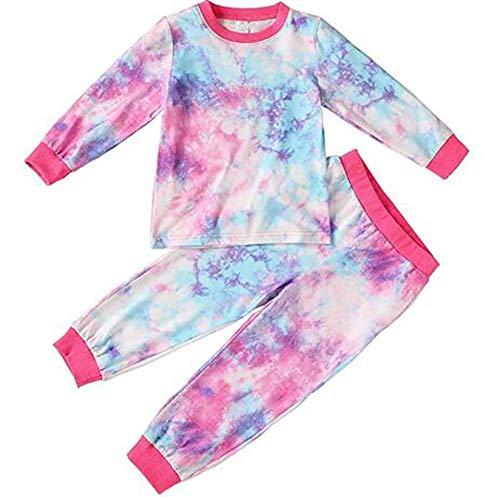 Yiyu Kleinkind Baby Set Tie-Dye Outfits Loungewear Hemd Hosen Pyjama Set Für 2-7Y Mädchen 2Pcs x (Color : Multi-Colored, Size : 100)