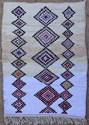 Marokkanischer Berberteppich, authentisch, Boucherouit, aus recyceltem Stoff und Baumwolle, 140 x 100 cm, recycelte Textilien aus der Azilal-Tribu