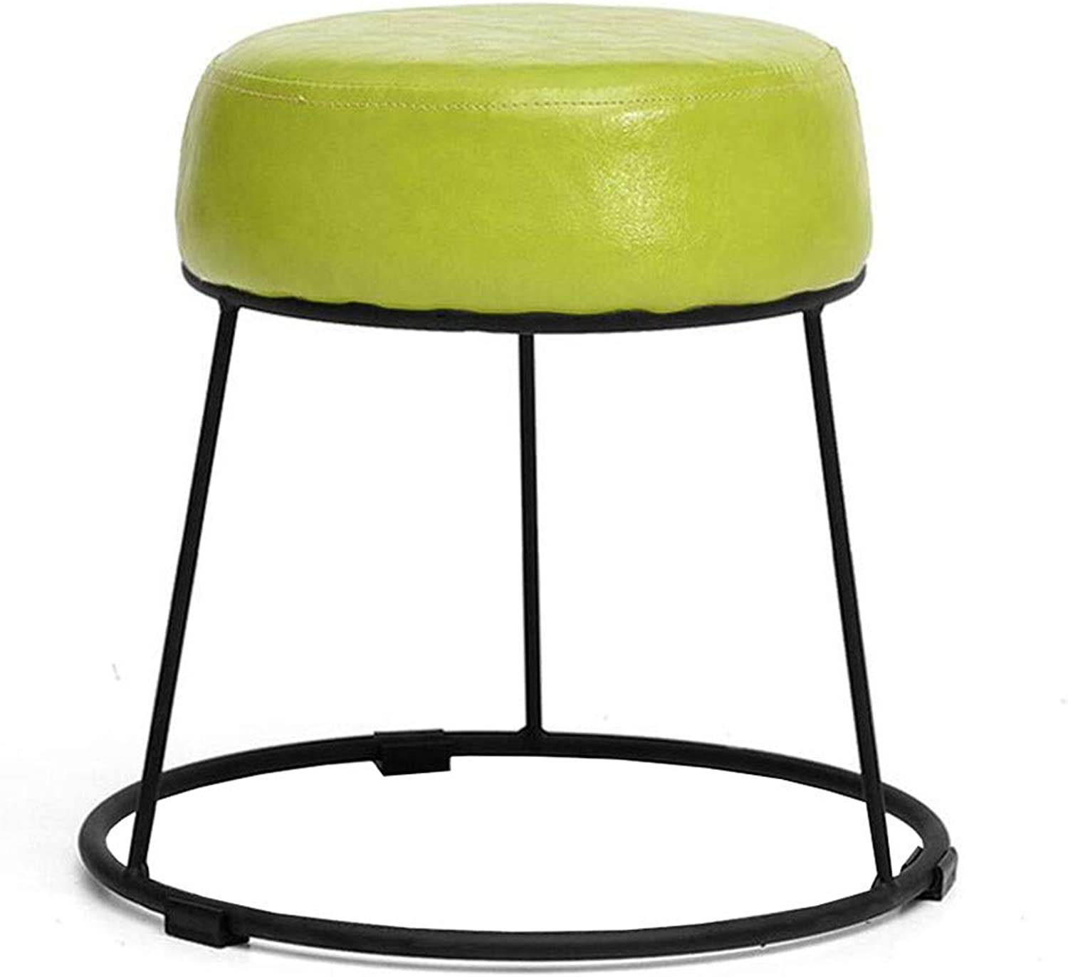 Dall Footstool shoes Bench Metal Frame Fashion Home PU Seat Living Room Sofa Stool Multifunctional, 7 colors (color   Green 1, Size   36cm)
