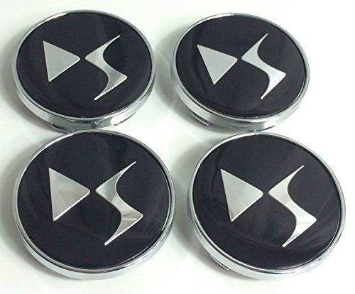 Set di 4 compatibili con CITROEN 60 mm cerchioni in alluminio Centro Cap mozzo DS Style Logo nero Chrome Logo Badge Cover