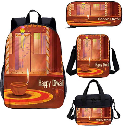 Diwali 15' School Backpack & Lunch Bag Set,Traditional House Interior Bookbags 4 in 1