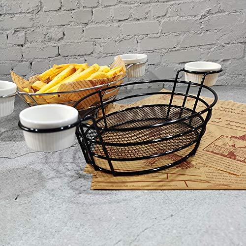 T1 Hierro forjado fruta portátil cesta de almacenamiento pan fritas fritas aperitivos fritos cesta portátil doble taza en forma de huevo