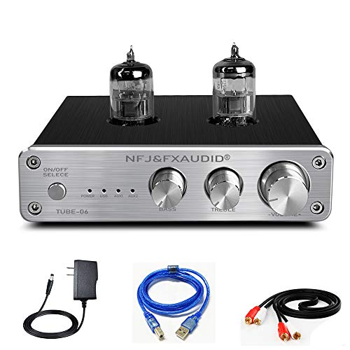 FX AUDIO Tube Preamp TUBE-06 HiFi Home Audio Stereo HiFi 6N3 Vacuum Tube Preamplifier for Home Theater Audio Player System CM6653 with Sound Card with Bass Treble Control RCA/USB/AUX Input (Silver)