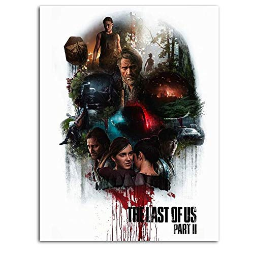Ghychk The Last of Us Part 2 - Póster decorativo para pared (61 x 91 cm), diseño de juego de Ellie y Joel, sin marco, listo para colgar