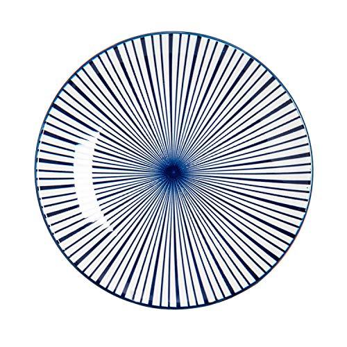 Nicola Spring Petite Assiette - Rayures Blanches et Bleues - 19 cm